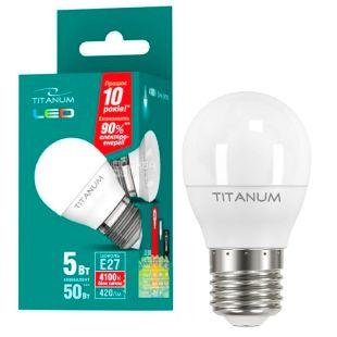 TITANUM, 5 Вт, E27, Лампочка Светодиодная, 4100К (нейтральный белый свет), G45