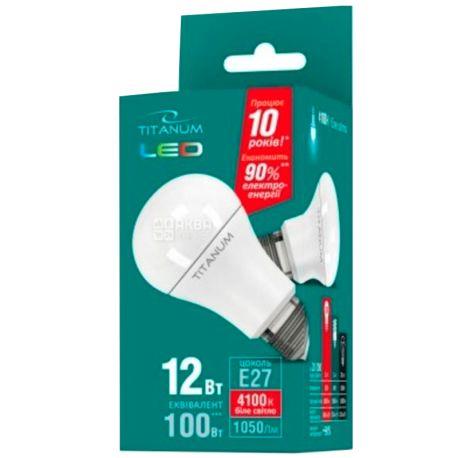 Titanum, 1 шт., 12 Вт, E27, Лампочка Светодиодная, 4100K (нейтральный белый свет), A60