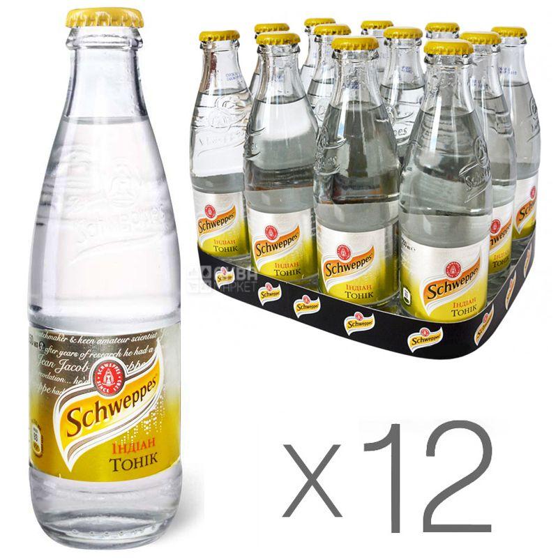 Schweppes, Indian Tonic, Упаковка 12 шт. по 0,25 л, Швепс, Індіан, Тонік трав'яний, безалкогольний, скло
