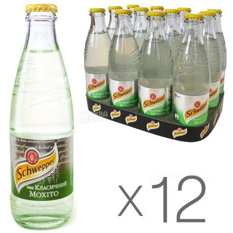 Schweppes, Classic Mojito, Упаковка 12 шт. по 0,25 л, Швепс, Класичний Мохіто, Вода солодка, з соком лайма, скло