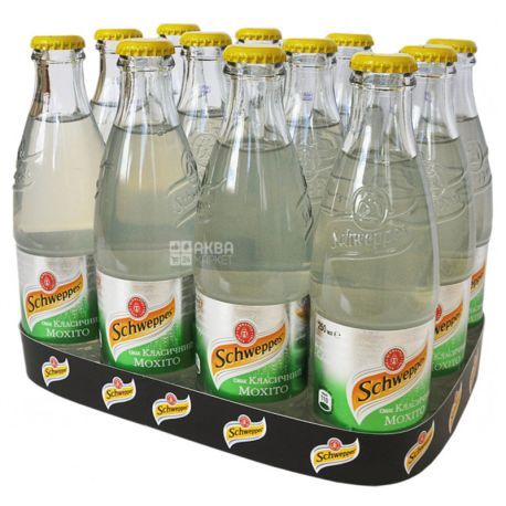 Schweppes, Classic Mojito, Упаковка 12 шт. по 0,25 л, Швепс, Классический Мохито, Вода сладкая, с соком лайма, стекло