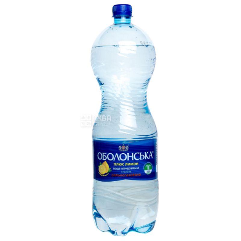 Оболонська Лимон, 2 л, Вода сильногазована, ПЕТ