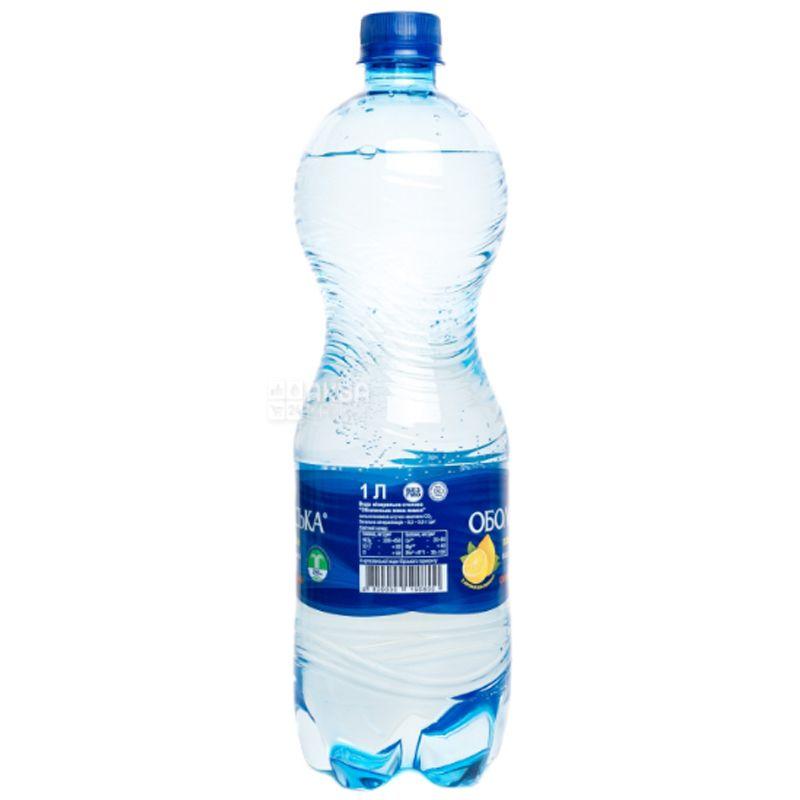 Оболонь Лимон, 1 л, Вода мінеральна сильногазована, ПЕТ
