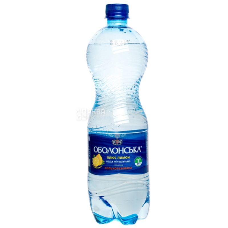 Оболонь Лимон, 1 л, Упаковка 12 шт., Вода минеральная сильногазированная, ПЭТ