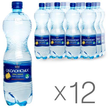 Оболонь Лимон, 1 л, Упаковка 12 шт., Вода мінеральна сильногазована, ПЕТ