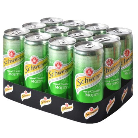 Schweppes, Classic Mojito, Упаковка 12 шт. по 0,33 л, Швепс, Классический Мохито, Вода сладкая, с соком лайма, ж/б