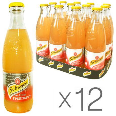 Schweppes, Pink Grapefruit, Упаковка 12 шт. по 0,25 л, Швепс, Розовый Грейпфрут, Вода сладкая, стекло