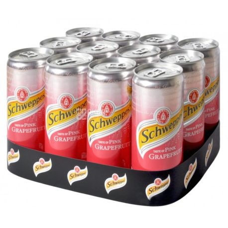 Schweppes, Pink Grapefruit, Упаковка 12 шт. по 0,33 л, Швепс, Розовый Грейпфрут, Вода сладкая, ж/б
