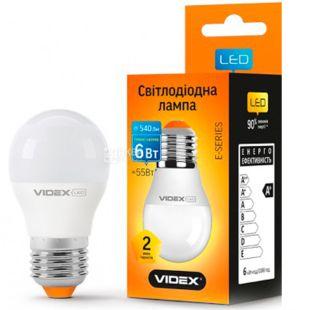 VIDEX, 1 шт., 6 Вт, E27, Лампа Світлодіодна, 3000K (тепле біле світло), G45e