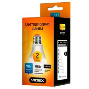 VIDEX, 1 шт., 9 Вт, E27, Лампа Світлодіодна, 3000K (тепле біле світло), A60e, VL-A60e-09273
