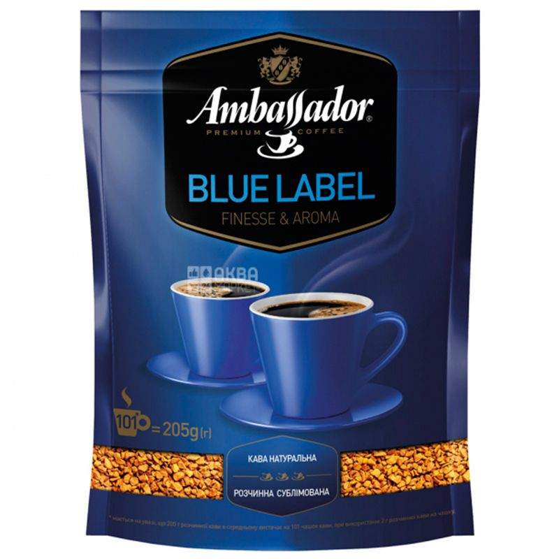 Ambassador Blue Label, 205 г, Кава розчинна Амбассадор Блю Лейбл