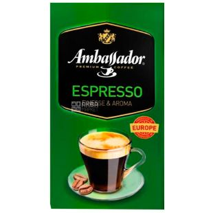 Ambassador Espresso, Ground Coffee, 450 g, vacuum-packed
