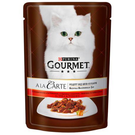 Gourmet, 85 г, Корм для котов, A La Carte, С говядиной и овощами, м/у