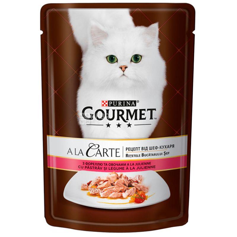 Gourmet, 85 г, Корм для котов, A La Carte, С форелью и овощами, м/у