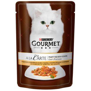 Gourmet, 85 г, Корм для котов, A La Carte, С индейкой и овощами, м/у