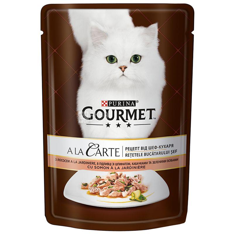 Gourmet, 85 г, Корм для котов, A La Carte, С лососем и овощами, м/у