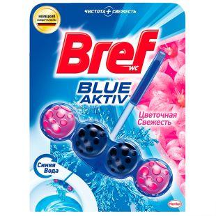 Bref, 1 шт., Блоки для унітаза, Сила Актив, Формула 4 в 1, Квіткова свіжість, ПЕТ