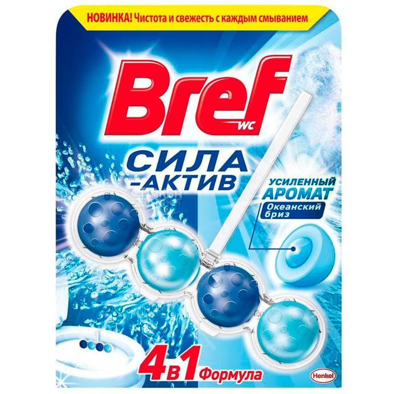 Bref, Блоки для унитаза, Сила Актив, Формула 4 в 1, Океанская свежесть, 50 г