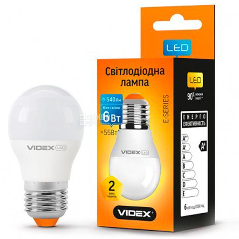 Videx, 1 шт., 6 Вт, E27, Лампочка Светодиодная, 4100K (нейтральный белый свет), G45e, 220 V
