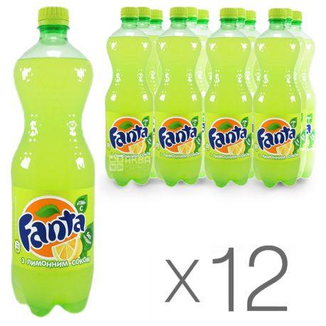 Fanta, Лимон, Упаковка 12 шт. по 0,5 л, Фанта, Вода сладкая, с натуральным соком, ПЭТ