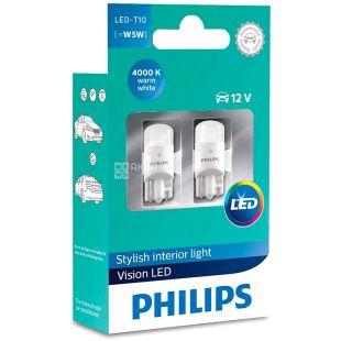 Philips, 2 pcs., LED lamp, T10 / 4000K / 12V, Blister