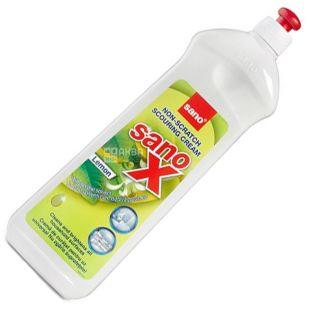 Sano, 1 л, Неабразивный чистящий крем для любых поверхностей, X Cream, Лимон, ПЭТ
