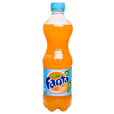 Fanta, Мандарин, Упаковка 12 шт. по 0,5 л, Фанта, Вода сладкая, с натуральным соком, ПЭТ