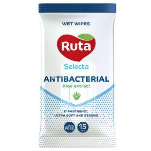 Ruta Selecta Antibacterial, 15 шт., Салфетки влажные Рута Селекта Антибактериальные, с экстрактом алоэ, для ухода за кожей