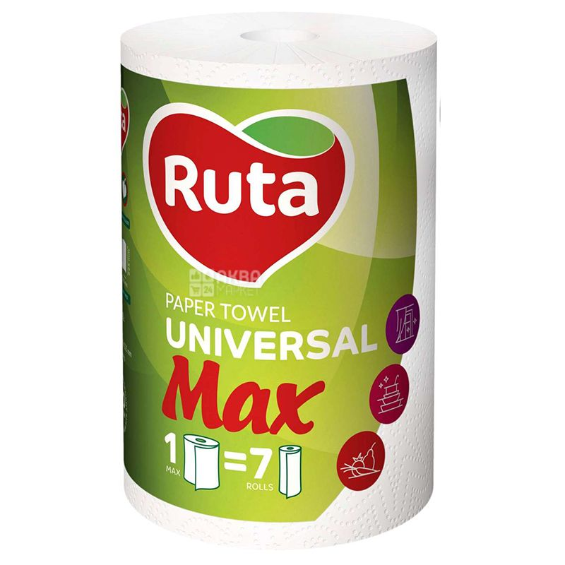 Ruta, MAX, 1 рул., Бумажные полотенца Рута Макс, 2-х слойные, 350 отрывов, 70 м