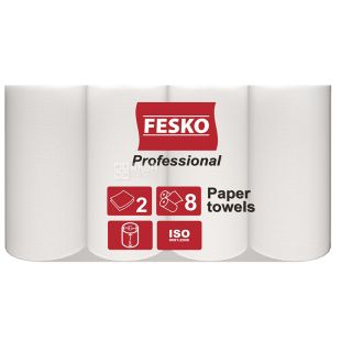 FESKO, 8 rolls, Paper towels, Professional, Double layer, White