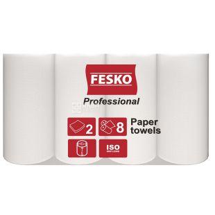 FESKO, 8 рулонів, Рушники паперові, Professional, Двошарові, Білі, м/у