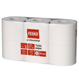 FESKO Professional, 6 rolls of 55 m, Toilet paper, Double-layered, White