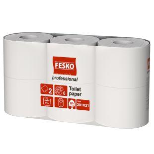FESKO Professional, 6 рулонів по 55 м, Туалетний папір, Двошаровий, Білий
