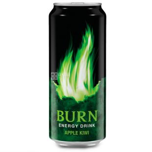 Burn, Упаковка 6 шт. по 0,25 л, Напій енергетичний, Apple Kiwi, ж/б