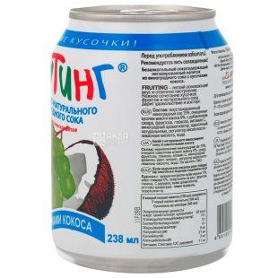 Fruiting, Natural grape juice, 238 мл, Фруттинг, Напиток из натурального сока винограда с кусочками кокоса, ж/б
