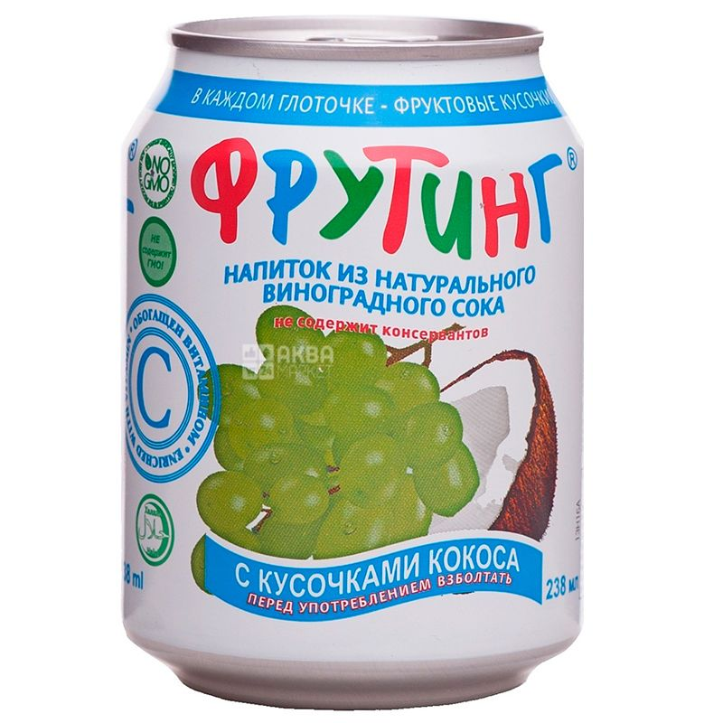 Fruiting, Natural grape juice, 238 мл, Фруттінг, Напій з натурального соку винограду зі шматочками кокоса, ж/б