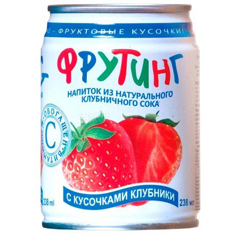 Fruiting, Natural strawberry juice, 238 мл, Фруттінг, Напій соковий, зі шматочками полуниці, ж/б