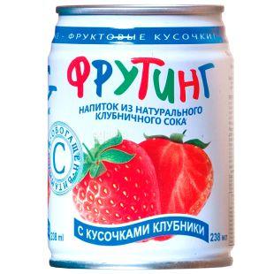 Fruiting, Natural strawberry juice, 238 мл, Фруттинг, Напиток соковый, с кусочками клубники, ж/б