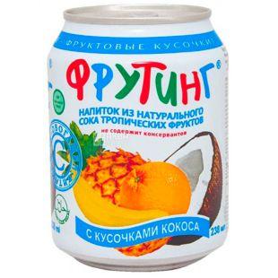Fruiting, 238 мл, Напій з натурального соку тропічних фруктів з шматочками кокоса, ж/б
