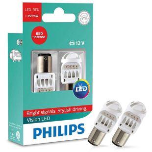 Philips, 2 pcs., LED Lamp, P21 / 5W RED 12 / 24V, Blister