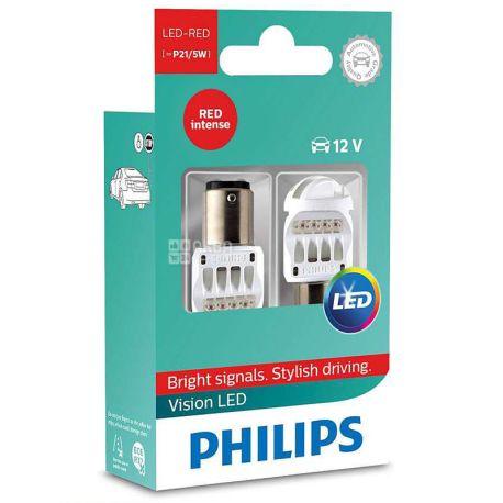 Philips, 2 шт., Лампа Светодиодная,  P21/5W RED 12/24V, Блистер