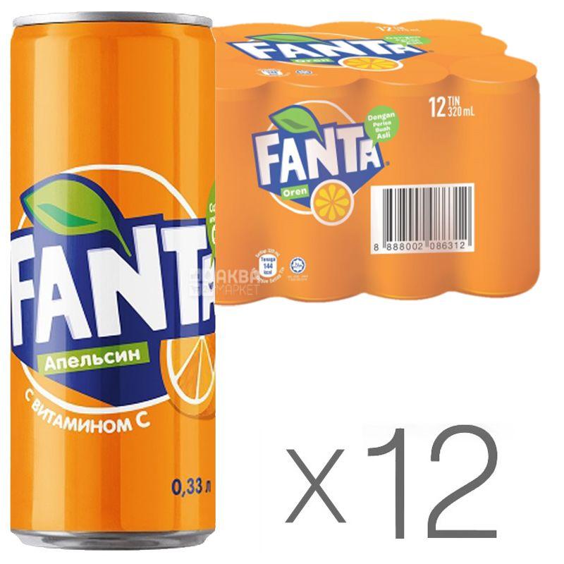 Fanta, Апельсин, Упаковка 12 шт. по 0,33 л, Фанта, Вода сладкая, с натуральным соком, ж/б