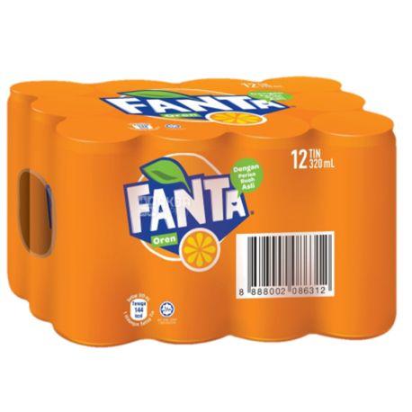 Fanta, Апельсин, Упаковка 12 шт. по 0,33 л, Фанта, Вода солодка, з натуральним соком, ж/б