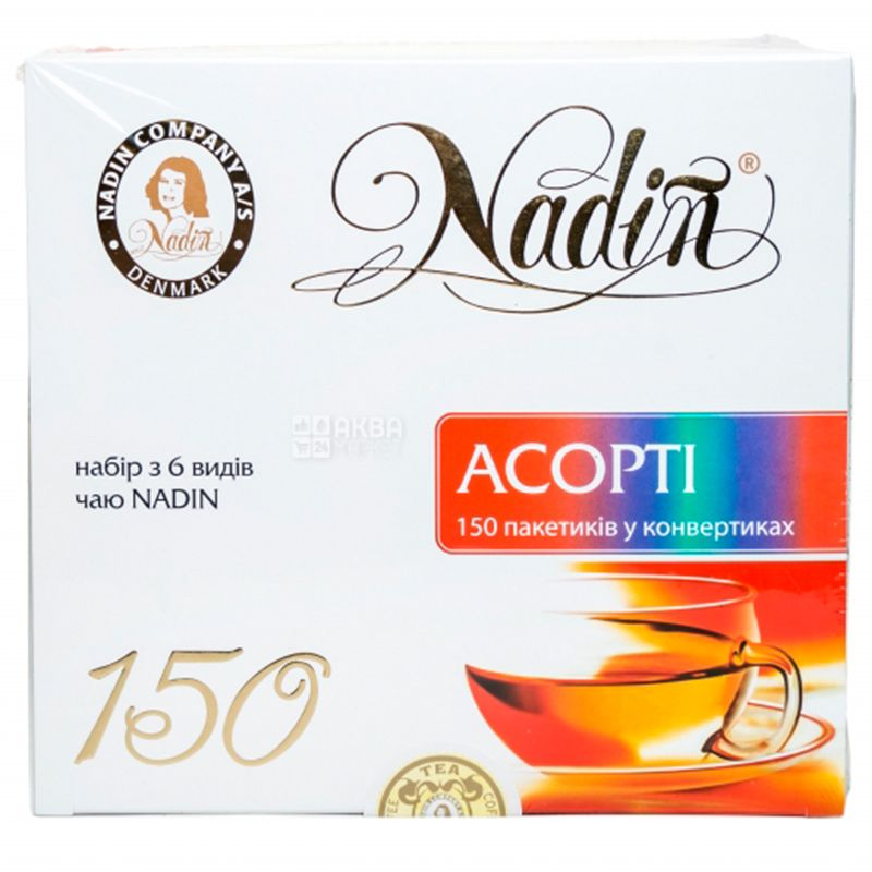 Nadin, Ассорти, 150 пак., Чай Надин, подарочный набор из 6-ти видов чая