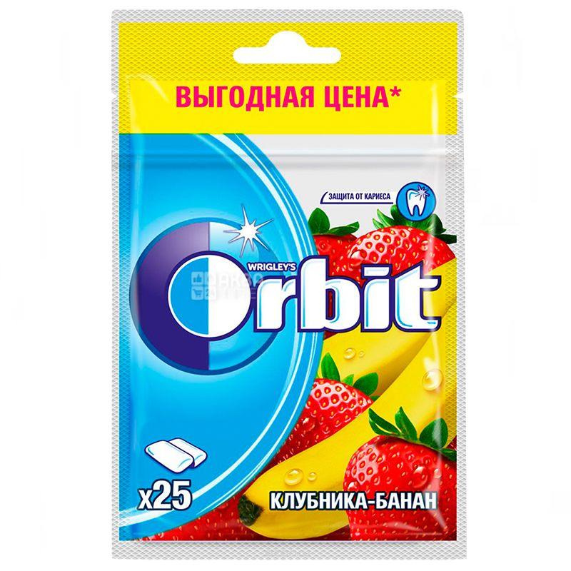 Orbit, 35 г, Жевательная резинка, Клубника-банан, В пакете
