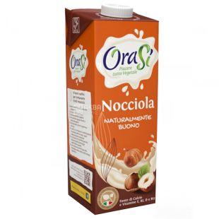 OraSi Nocciola, 1 л, Напиток растительный, Со вкусом лесных орехов, С витаминами и кальцием, Тетра Пак