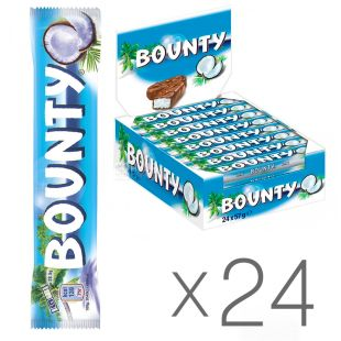 Bounty, Упаковка 24 шт. по 57 г, Шоколадные батончики