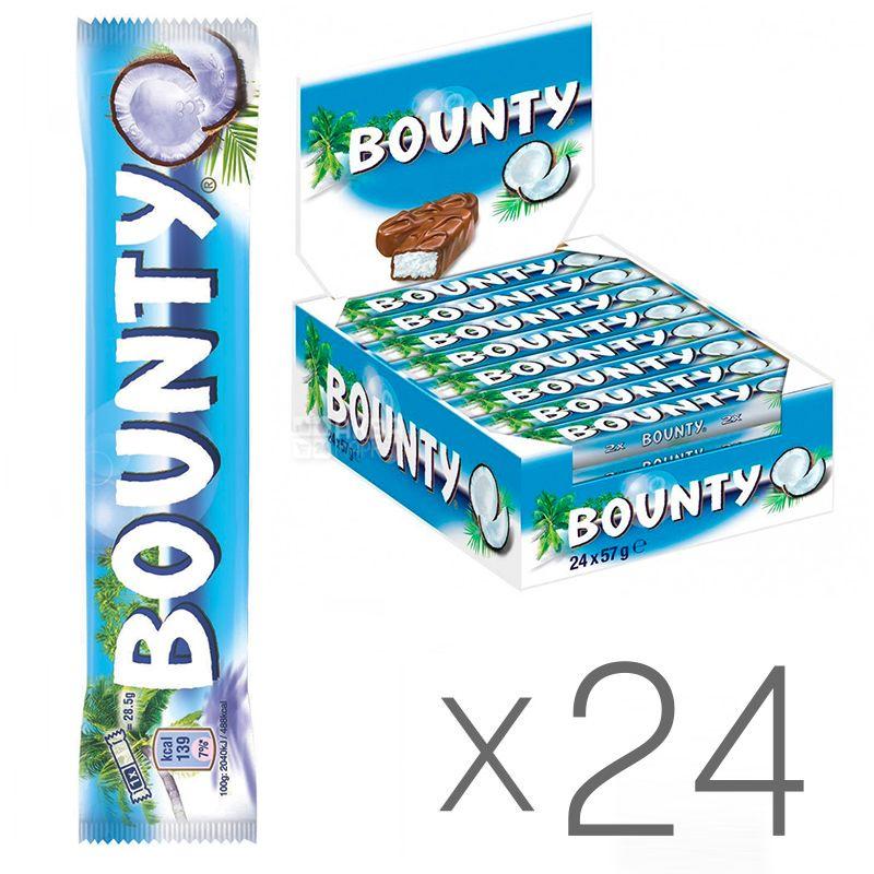 Bounty, Упаковка 24 шт. по 57 г, Шоколадні батончики