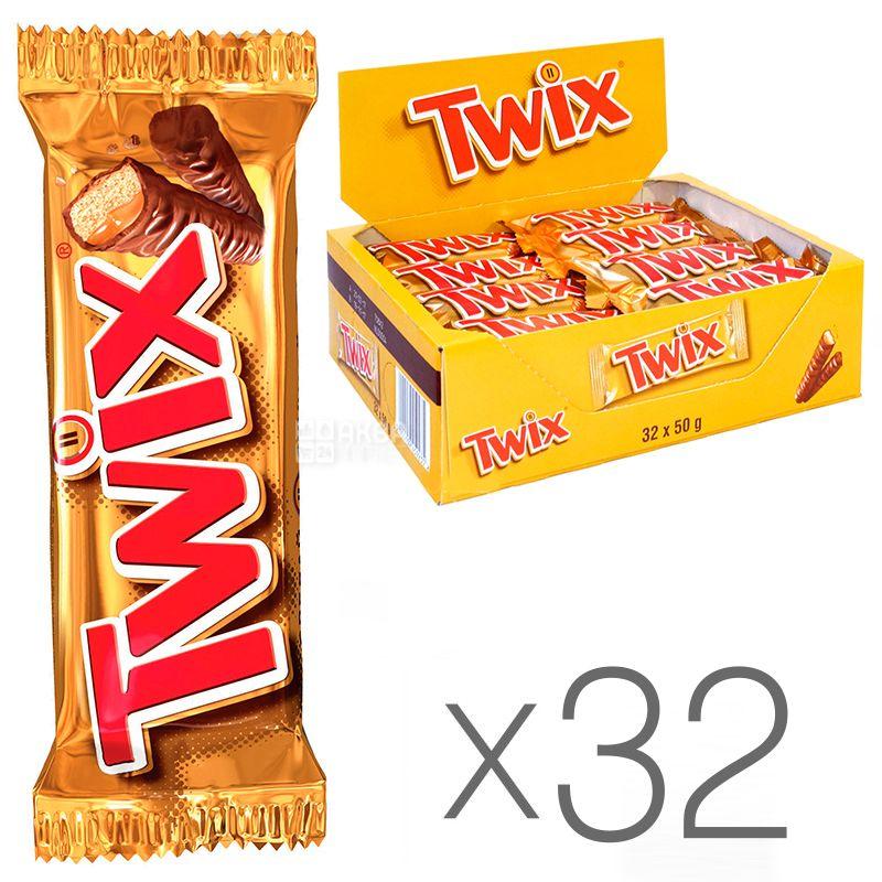 Twix, Упаковка 32 шт. по 50 г, Шоколадні батончики