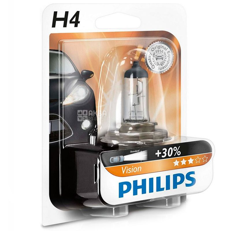 Philips, Лампа, Галогенная, H4 Vision, 3200K, Блистер